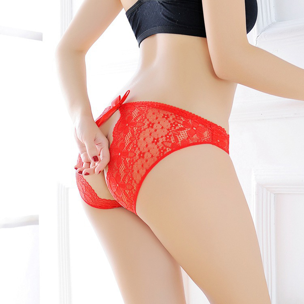 Women G-string Lace Floral Open Crotch Seamless Low Waist Sexy Underwear Erotic Briefs Panties red_One size