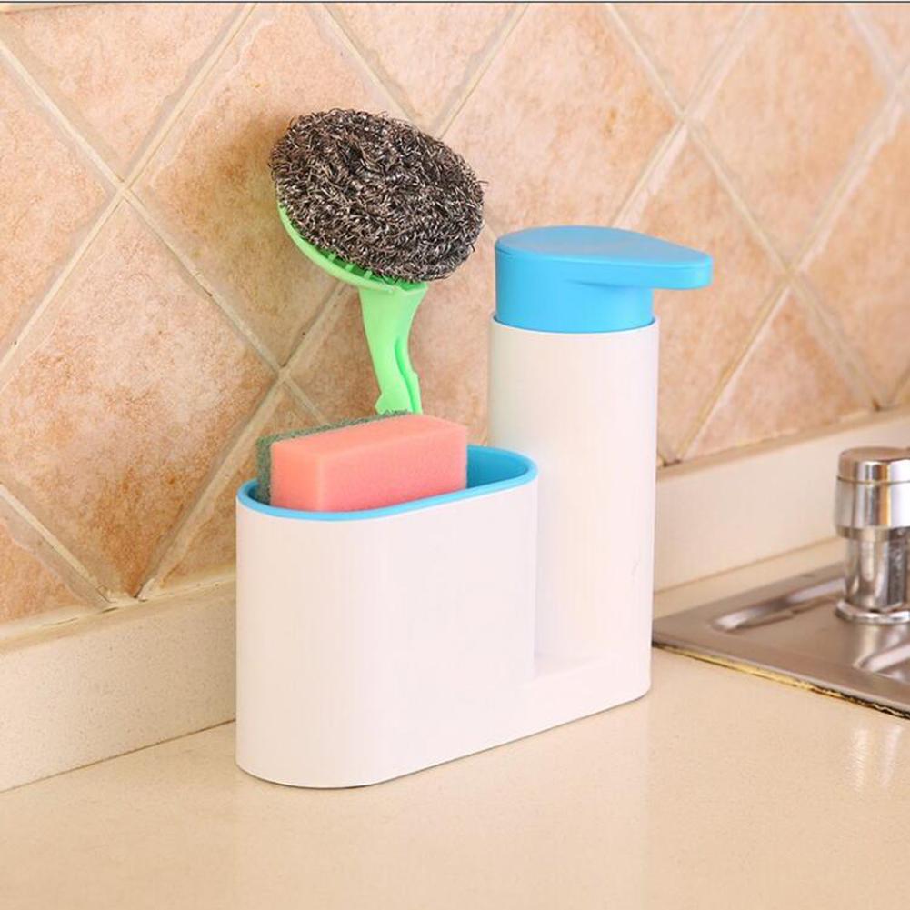 Multifunction Soap Liquid Dispenser Sponge Drain Stoarge Rack for Kitchen Bathroom blue