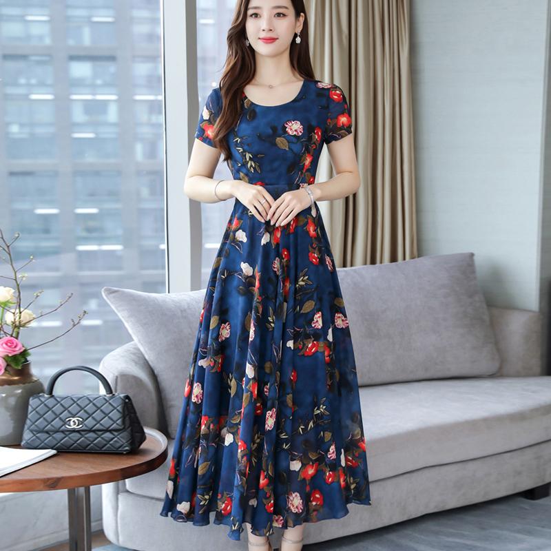 Women Summer Loose Round Collar Long Floral Pattern Short Sleeve Dress Navy_L