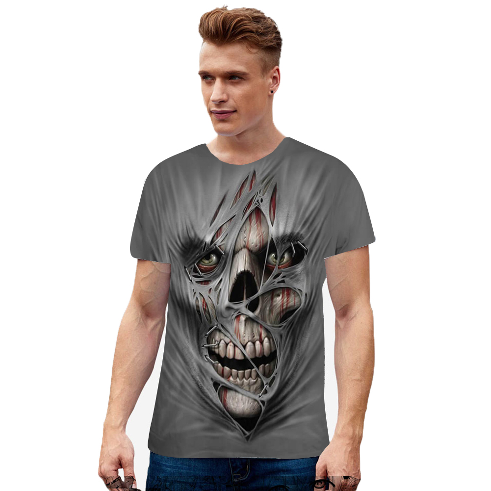 Unisex 3D Digital Skull Printed Round Neck Short Sleeve T-shirt as shown_2XL