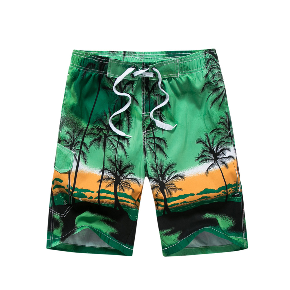 Male Beach Shorts Elastic Waist Pants with Coconut Tree Printed Leisure Vacation Wear green_XL