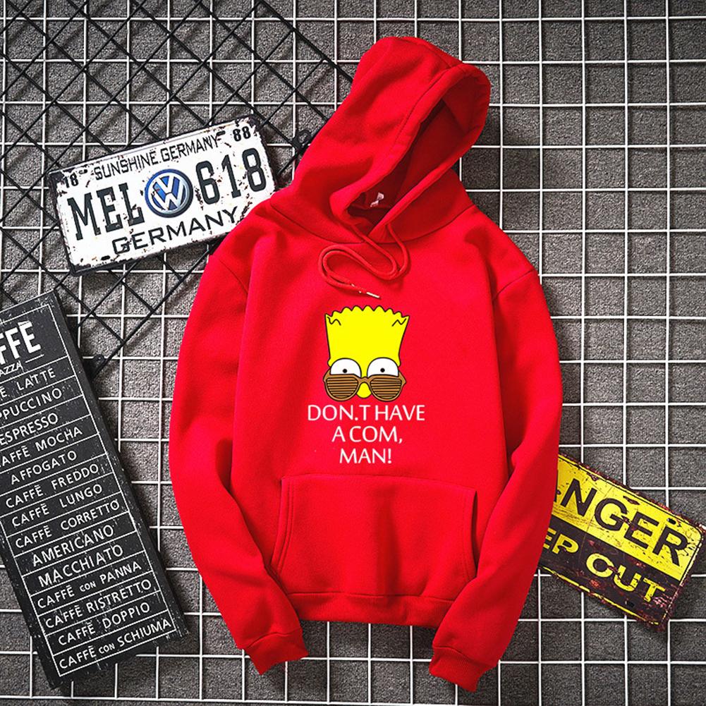 Unisex Simpson Cute Pattern Printing Hoodies Couple Pullover Hoodies red_M