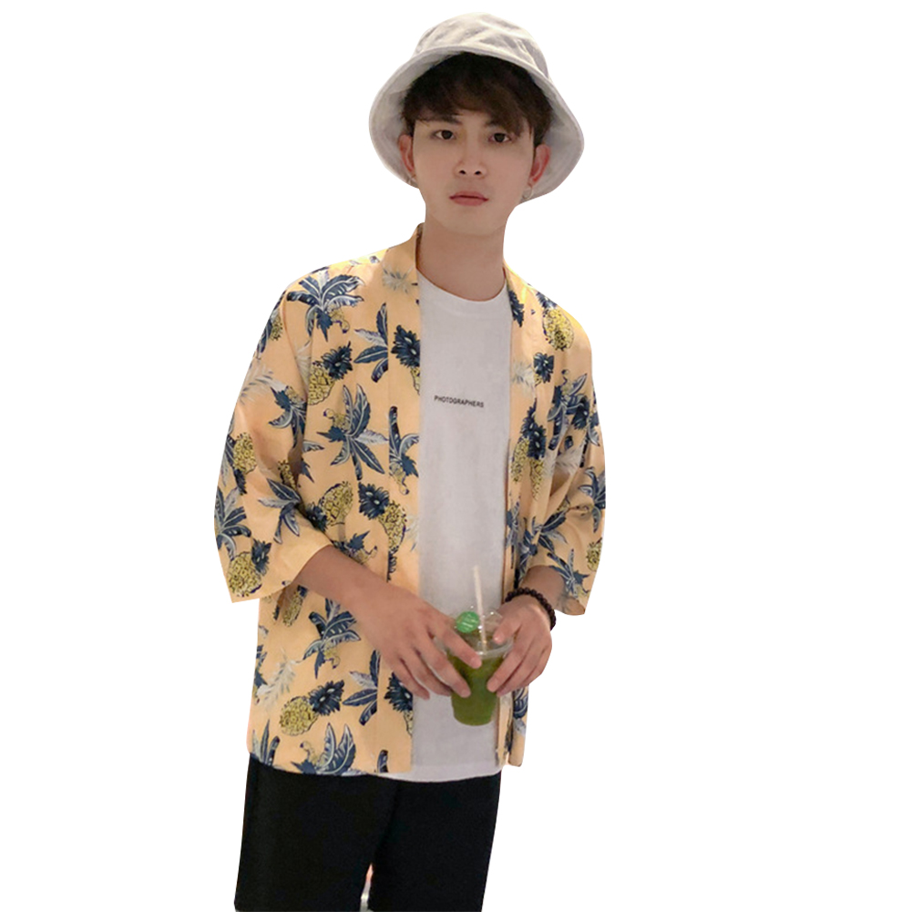 Retro Loose Hawaiian Pineapple Print for Seaside Vacation Dhort Sleeve Shirt Yellow_S