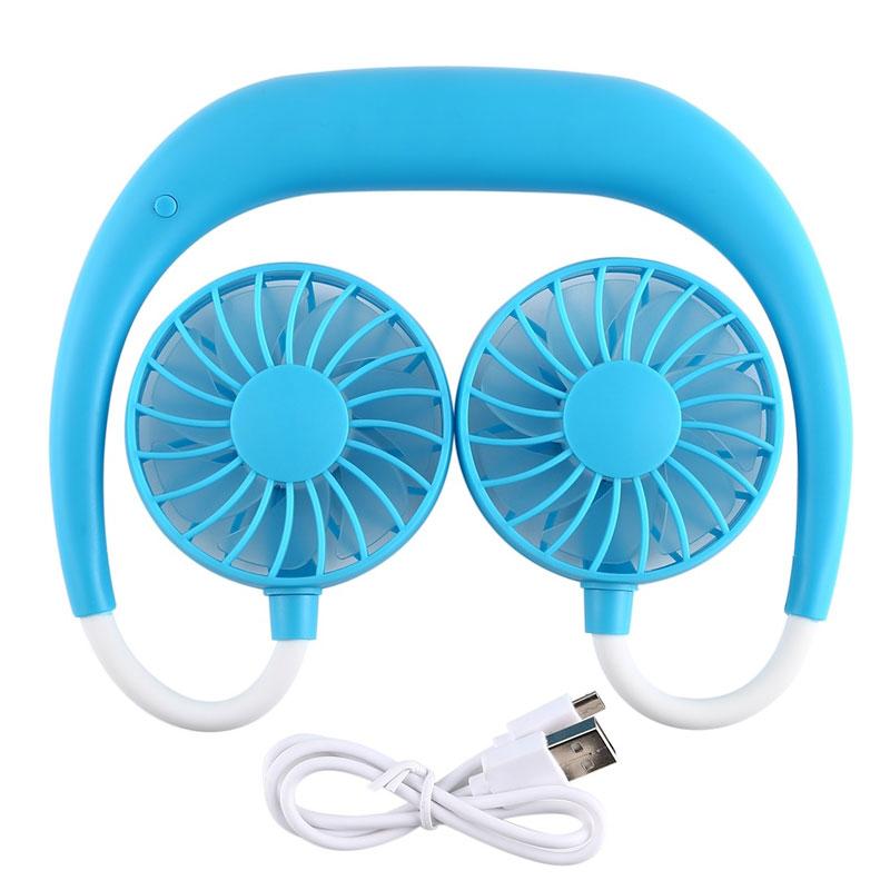 Portable Sports Halter Fan Mini Hanging Neck Fan USB Rechargeable Multi-function Mini fan blue