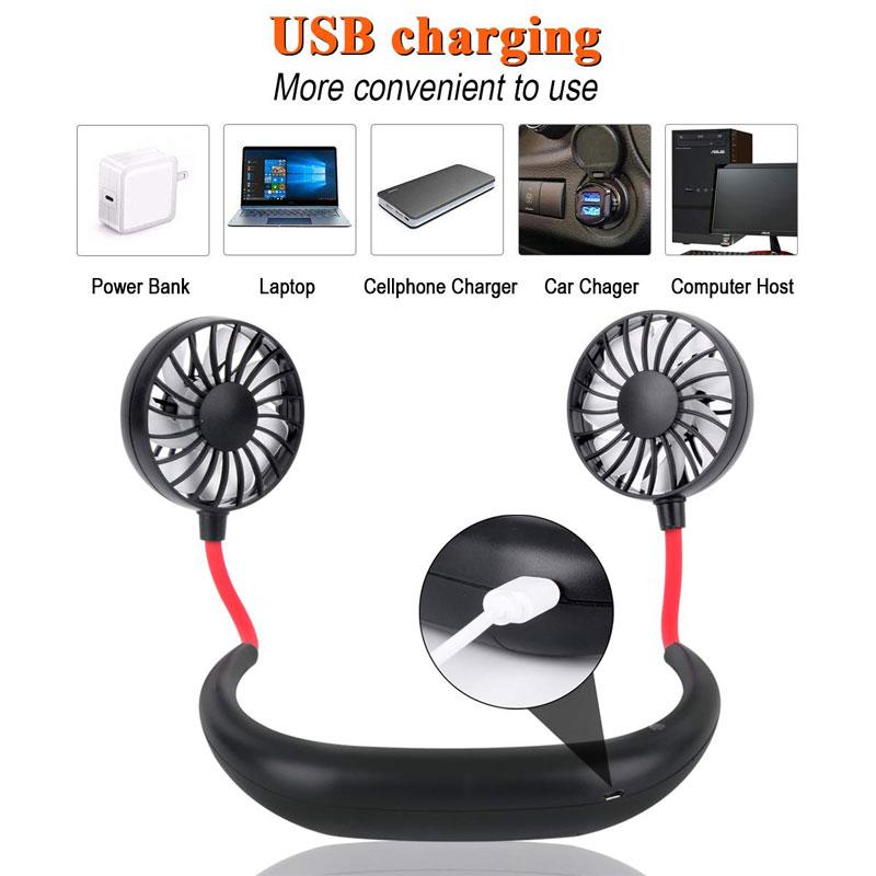 Portable Sports Halter Fan Mini Hanging Neck Fan USB Rechargeable Multi-function Mini fan black