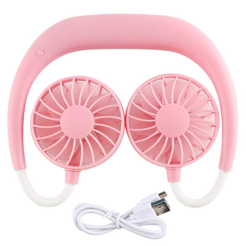 Portable Sports Halter Fan Mini Hanging Neck Fan USB Rechargeable Multi-function Mini fan Pink