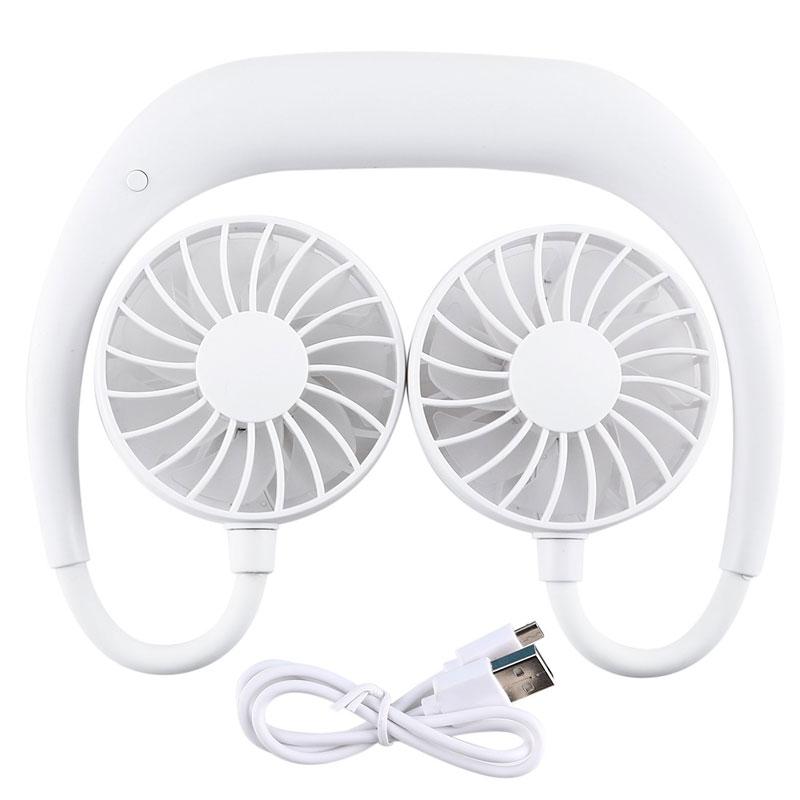 Portable Sports Halter Fan Mini Hanging Neck Fan USB Rechargeable Multi-function Mini fan white