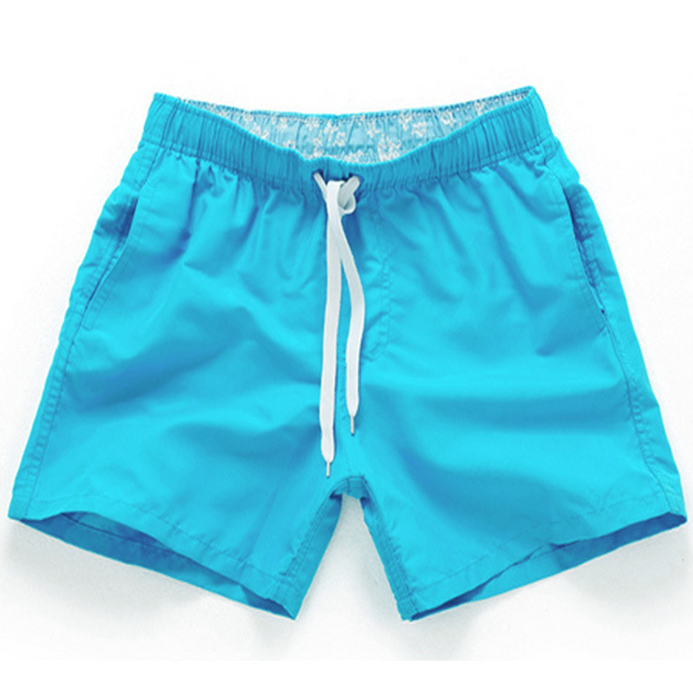 Men Summer Soft Beach Swimming Short Pants sky blue_XXL