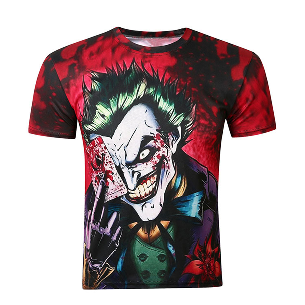 Unisex Cool Dark Knight Poker Clown 3D-printed Short-sleeved T-shirt Photo Color_XXL