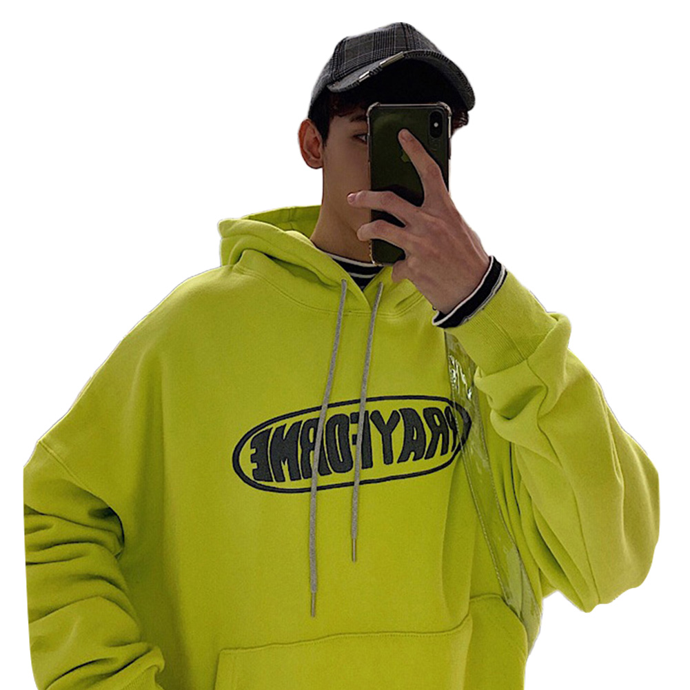Men Women Fashion Hoodie Sweatshirt Letter Printing Loose Pullover Casual Tops Green_M