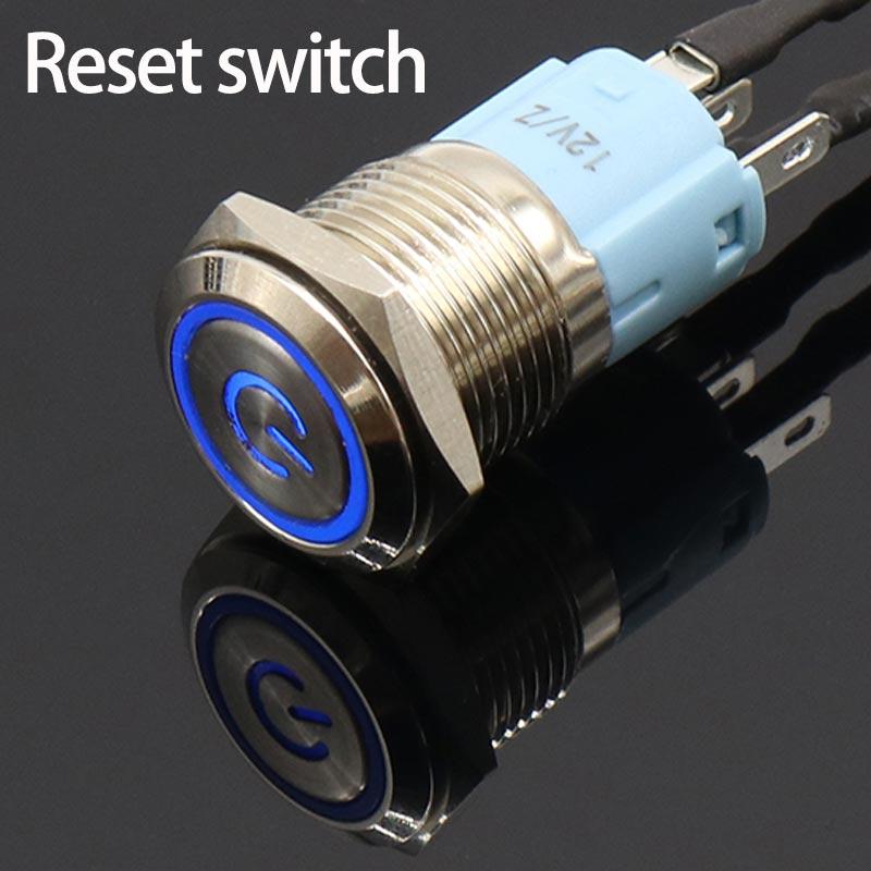 16mm 12V Metal Push Button Switch LED Power Locking Latching Self-reset Switch