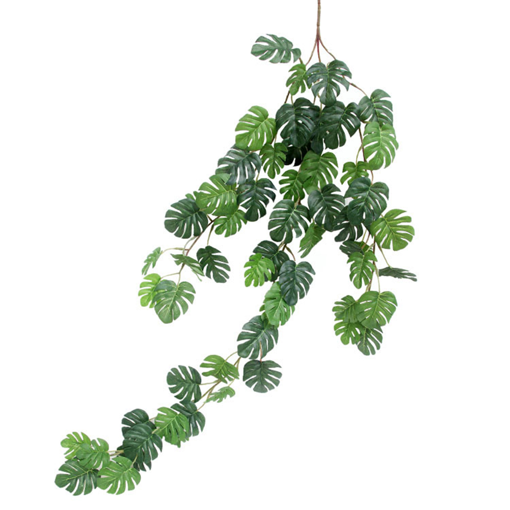 Artificial Monstera Leaf Plant Rattan Wreath String for Indoor Wedding Home Decor