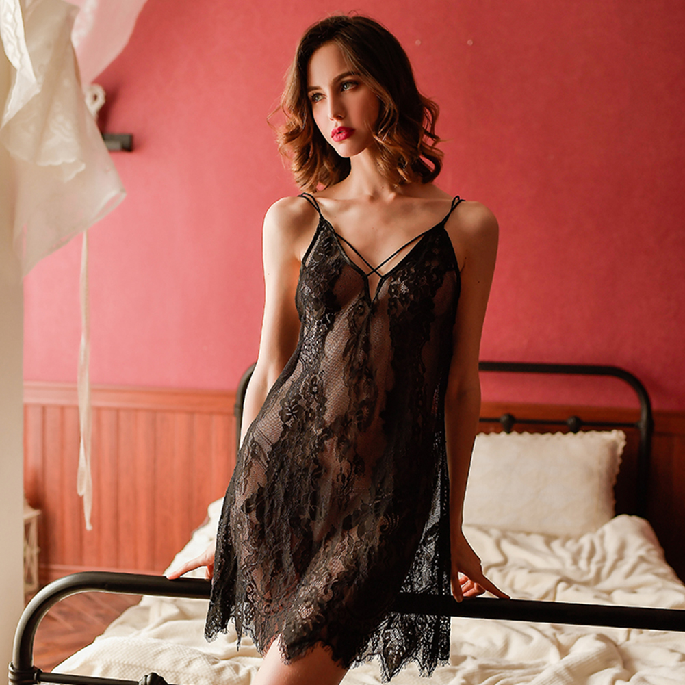 Woman Sexy Underwears Suit Gauze See-through Sling Dress Backless Sexy Nightdress black_Free size