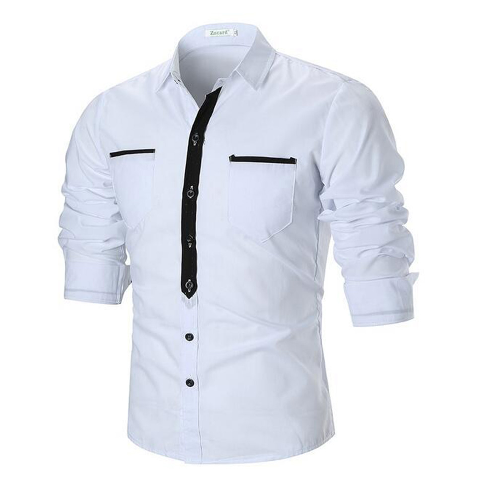 Single-breasted Leisure Shirt Slim Top Cardigan with Two Pockets for Man white_M