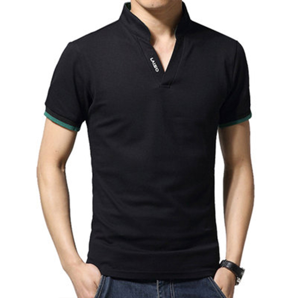 Men Casual Solid Color Cuff Stripe Pattern Standing Collar Shirt black_M