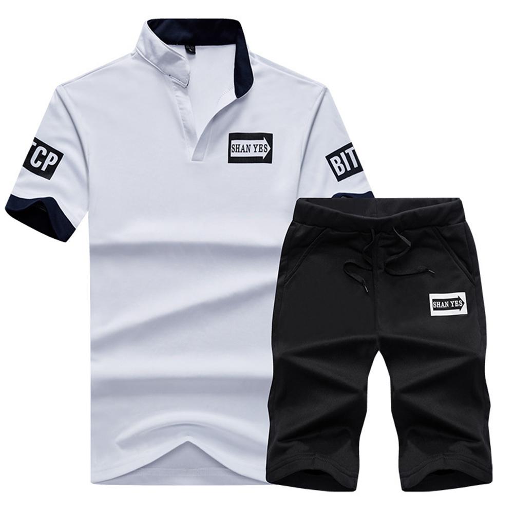2pcs/set Men Summer Suit Middle Length Trousers + Casual Sports T-shirt white_M