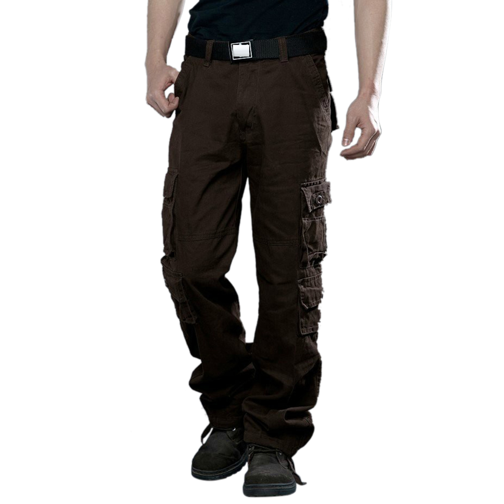 Men Camouflage Multiple Pockets Casual Long Trousers  coffee_32 (2.46 feet)