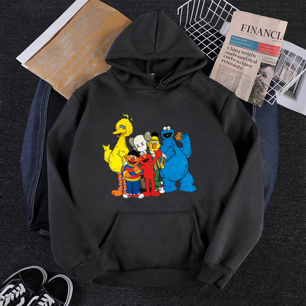 KAWS Men Women Hoodie Sweatshirt Cartoon Animals Thicken Loose Autumn Winter Pullover Black_XL
