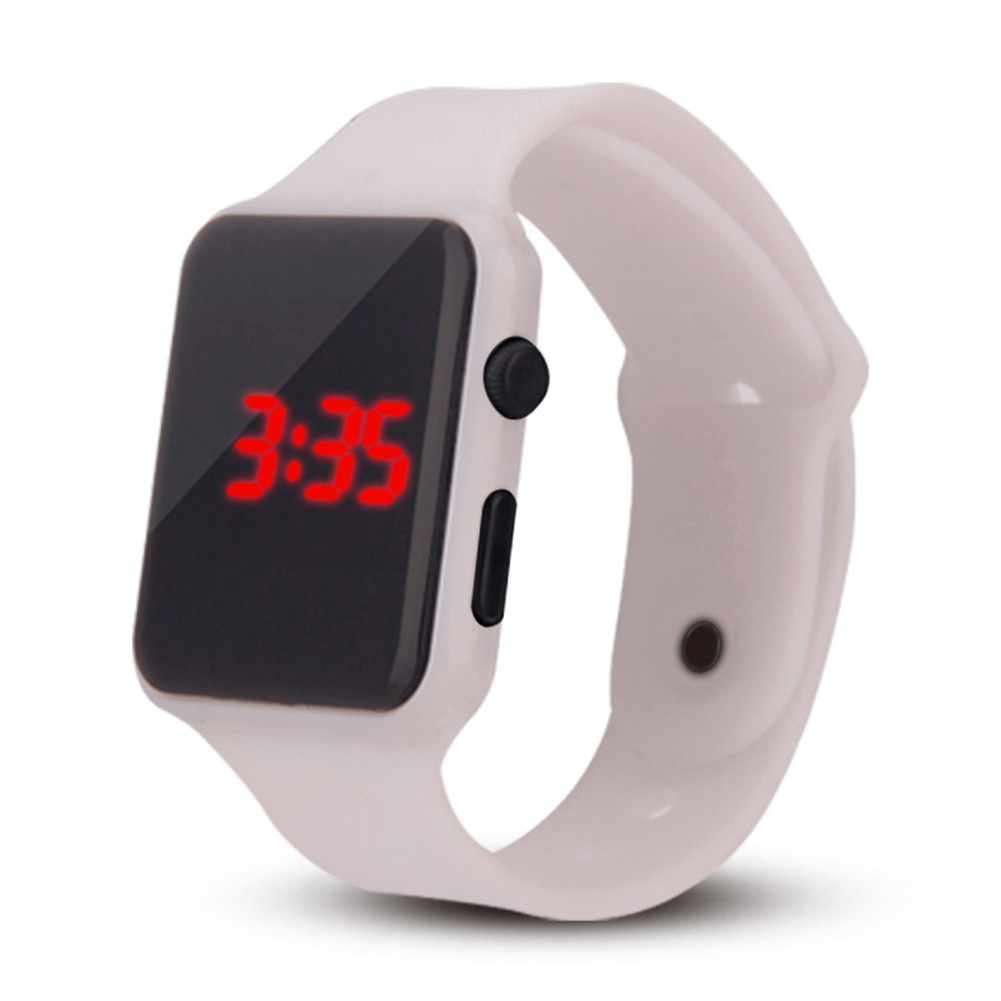 Electric LED Wristwatch Silicone Band Digital Display Watch Gifts for Boys and Girls white