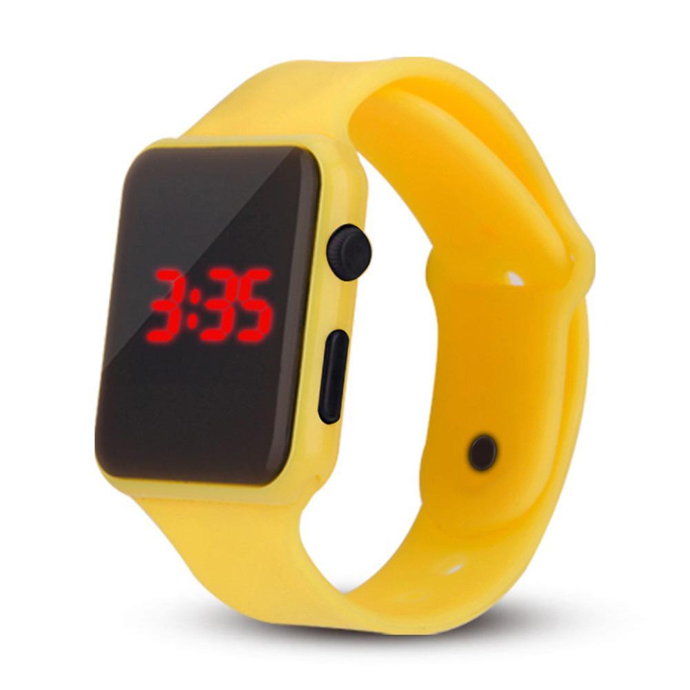 Electric LED Wristwatch Silicone Band Digital Display Watch Gifts for Boys and Girls yellow