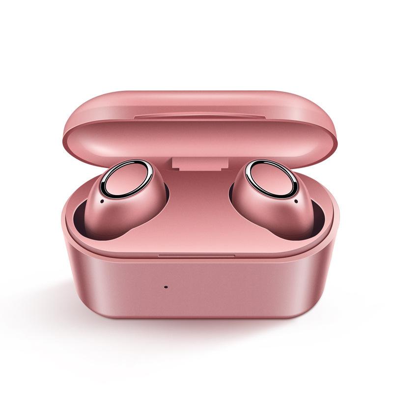 D015 TWS5.0 Wireless Headphone Bluetooth In-Ear Handsfree Headset Sport Earbuds Rose gold