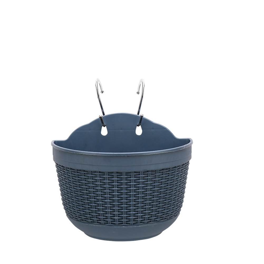 Wall Hanging Flower  Pot Garden Fence Balcony Basket Plant Potted Flower Pot Decoration Blue