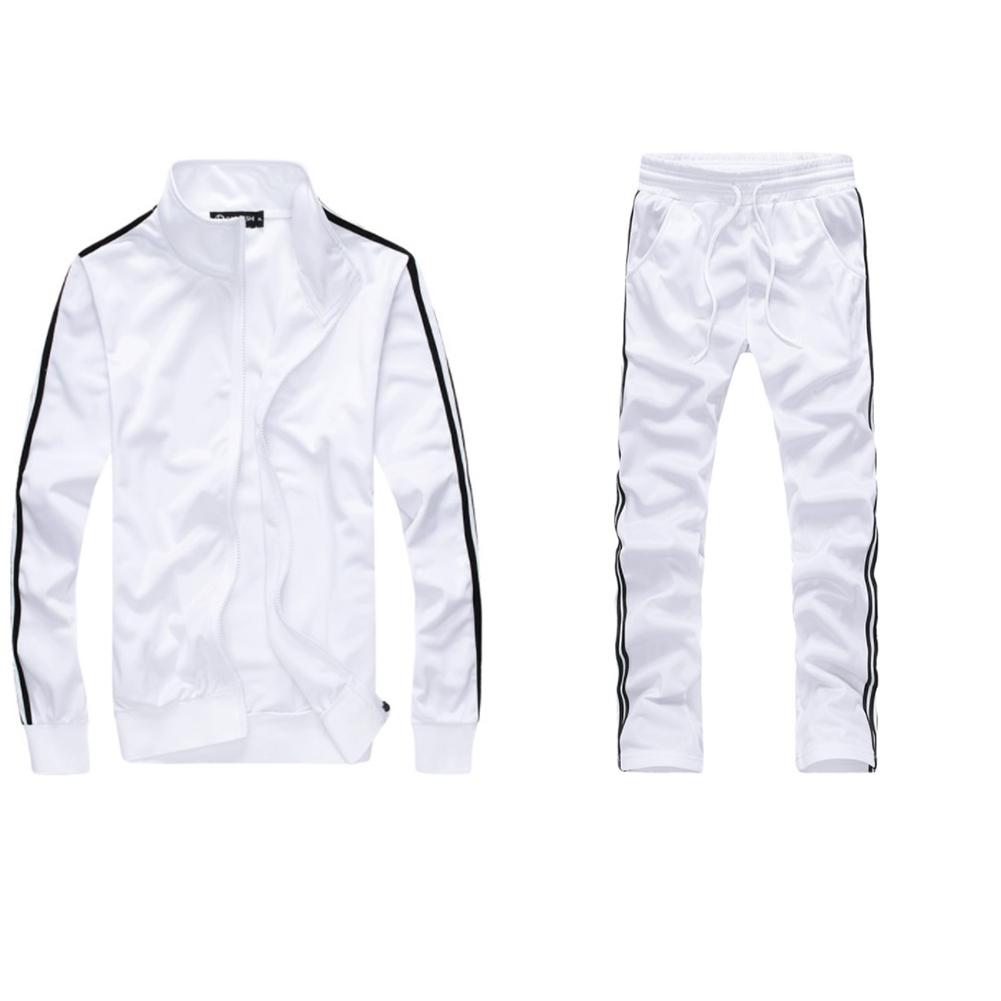 Men Autumn Sports Suit Striped Casual Sweater + Pants Two-piece Suit Outfit white_3XL