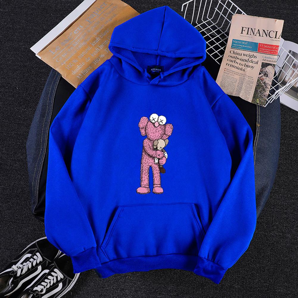 KAWS Men Women Hoodie Sweatshirt Holding Doll Cartoon Thicken Autumn Winter Loose Pullover Blue_S