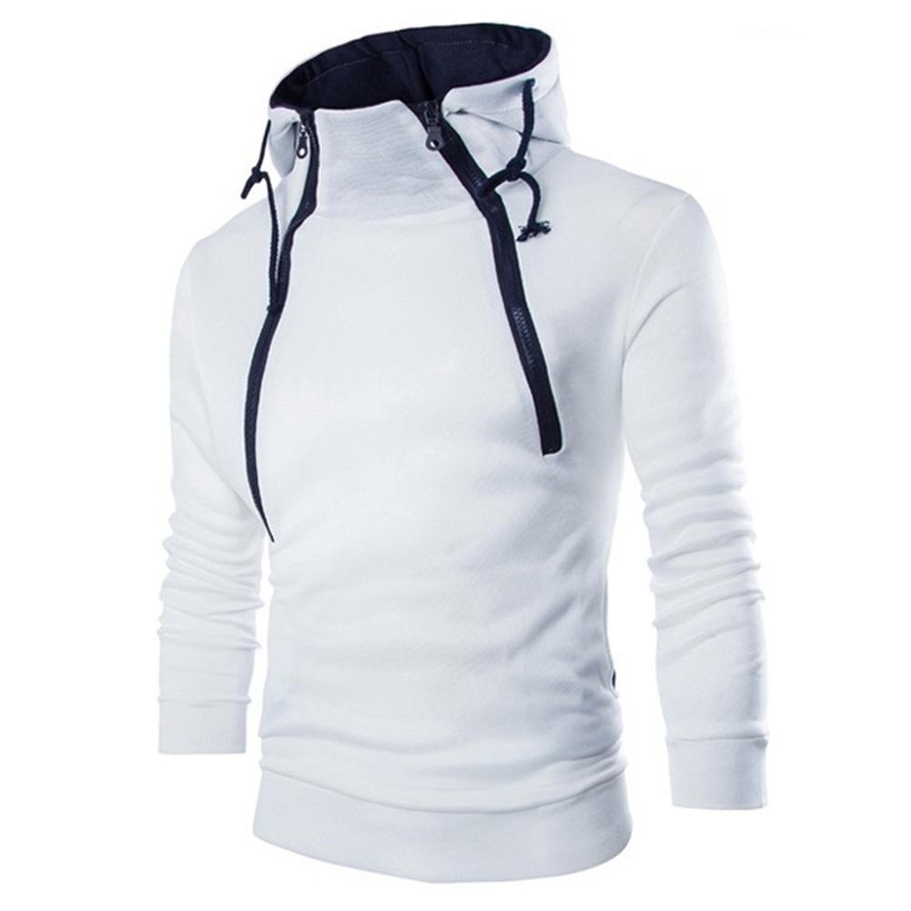 Men Casual Sports Long Sleeve Double Zipper Hoodie Simple Solid Color Hooded Sweatshirt  white_XL