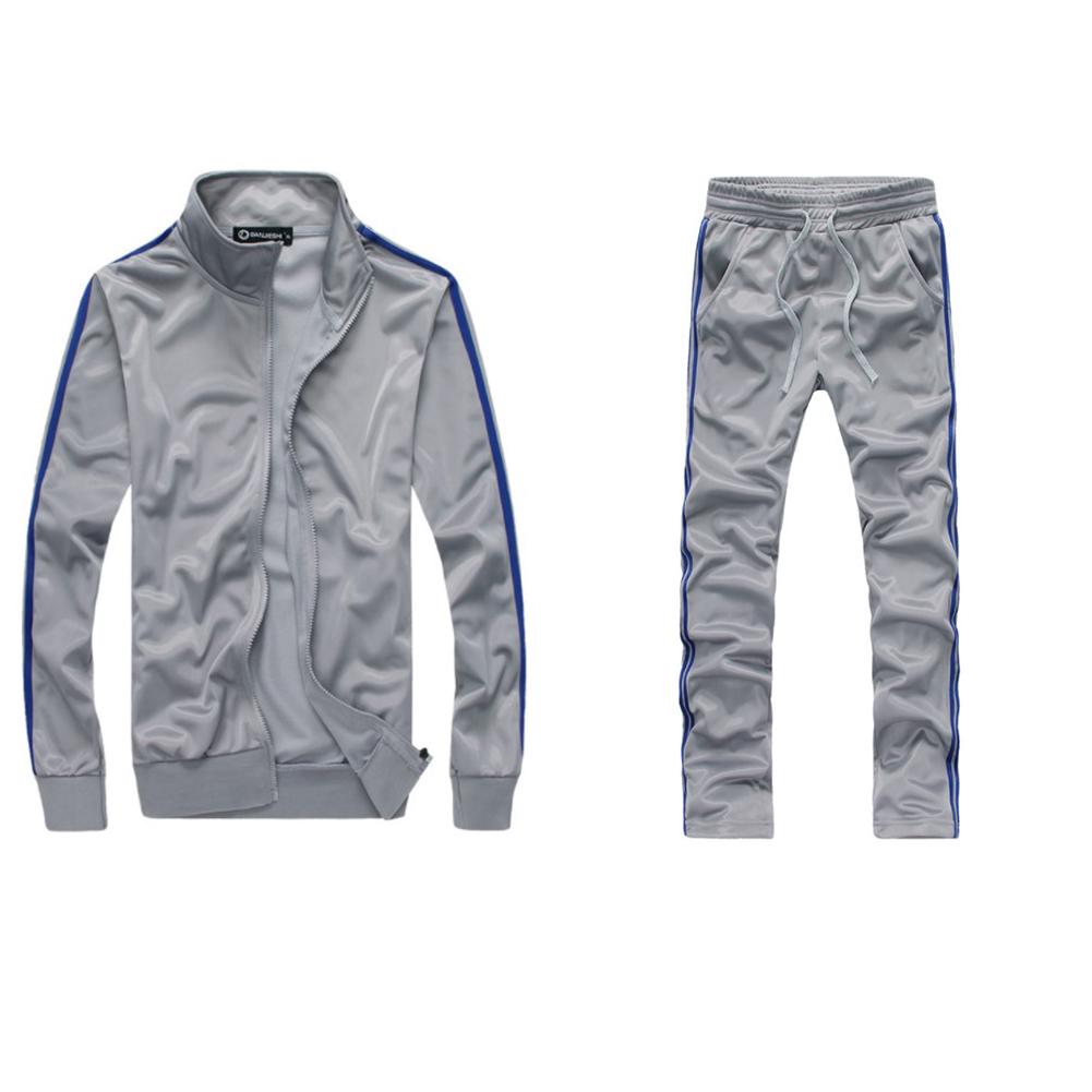 Men Autumn Sports Suit Striped Casual Sweater + Pants Two-piece Suit Outfit gray_M