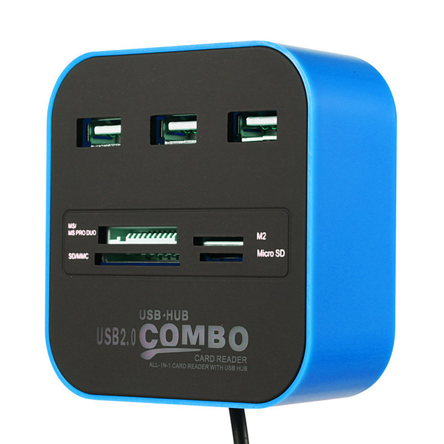 USB HUB Combo All in One USB 2.0 Micro SD High Speed Card Reader 3 Ports Adapter Connector for Tablet PC Computer Laptop blue