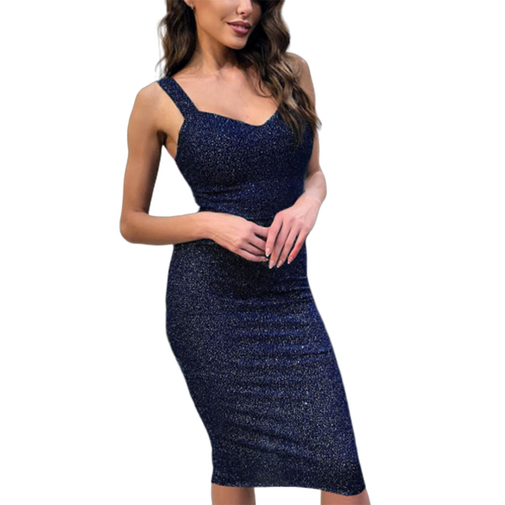 Women Sexy Slim Sleeveless Glittering Formal Dress for Party Wear blue_S