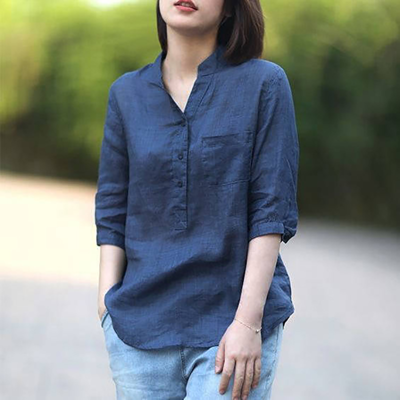 Women Summer Casual Cotton and Linen Stand Collar Shirt  Loose Mid-length Sleeve Shirt Navy_XL