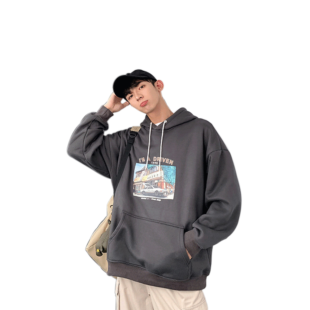 Men Women Hoodie Sweatshirt Printing Letter Car Spring Autumn Loose Pullover Tops Dark gray_XL