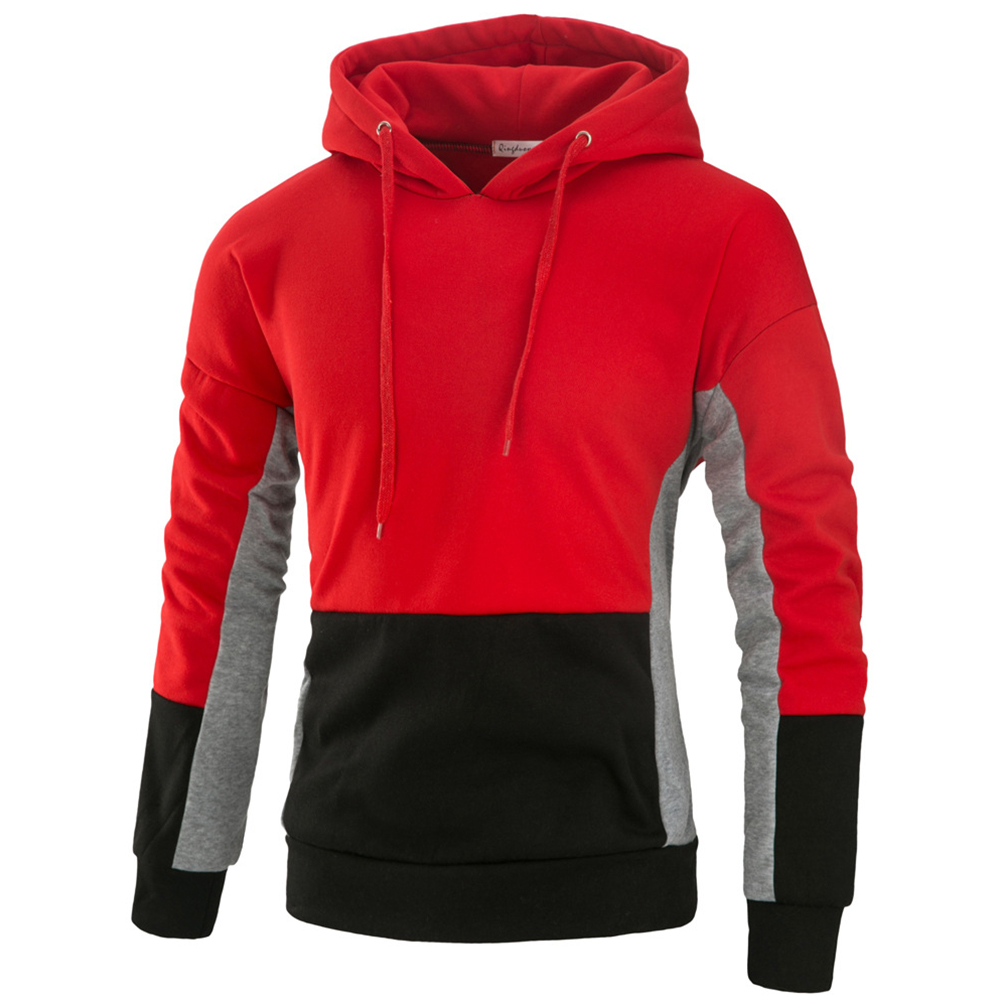 Men Autumn Stitching Hooded Pullover Casual Long Sleeve Sweater Coat Tops red_L