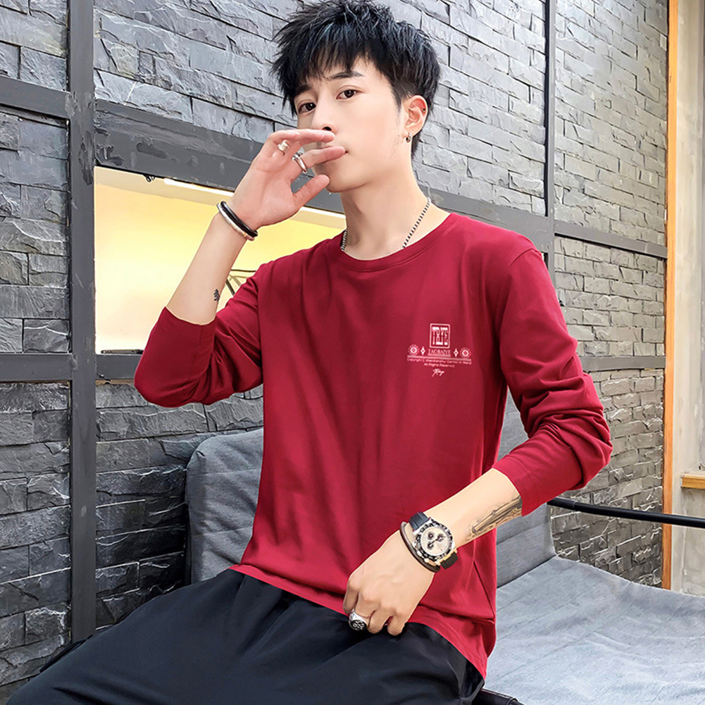 Men Autumn Long Sleeve Round Neck Solid Color Print T-Shirt Cotton Bottoming Shirt Tops red_L