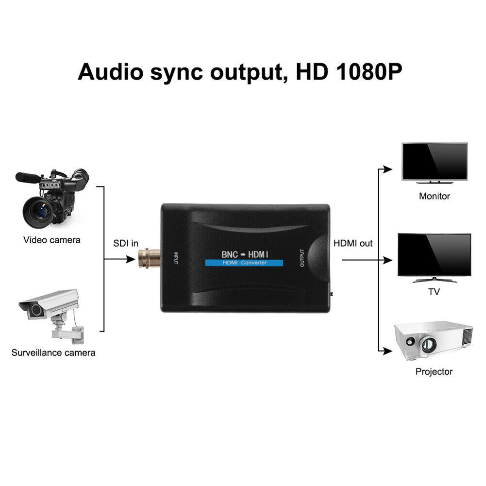 BNC to HDMI Converter 1080P/720P Video Display Adapter Monitor black