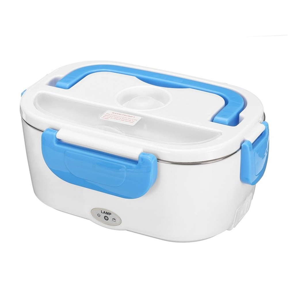 2 In 1 Electric Heating Lunch  Box Thermal Food Warmer Container For Home Car Eu Plug blue