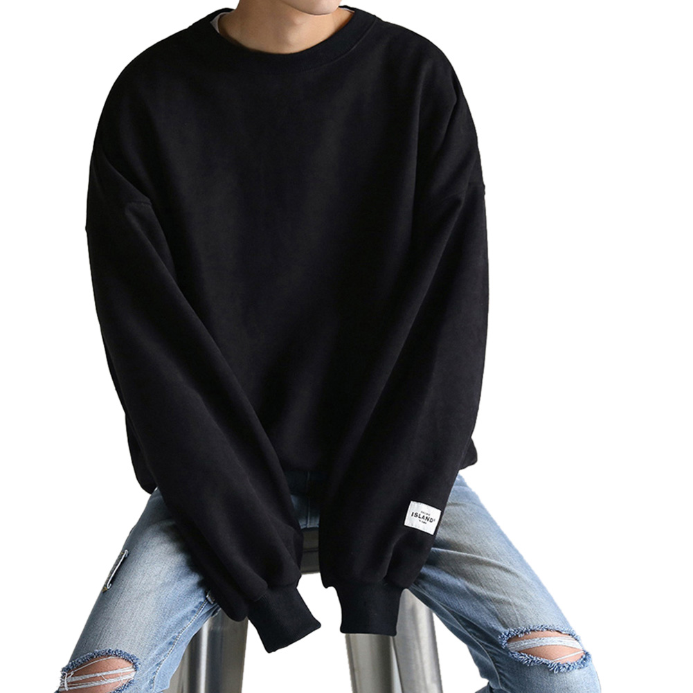 Women Men Round-Necked Loose Long-Sleeved Oversize Casual Sweatshirts for Campus  black_L