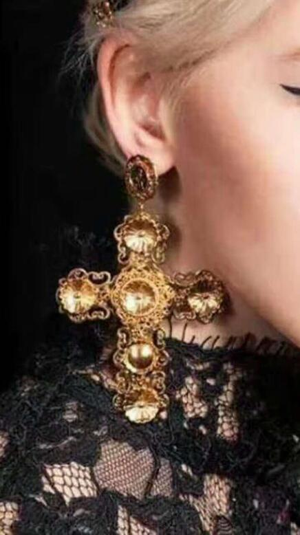 Women Gothic Statement Gold Plated Big Cross Drop Earrings Cool Dangle Earrings
