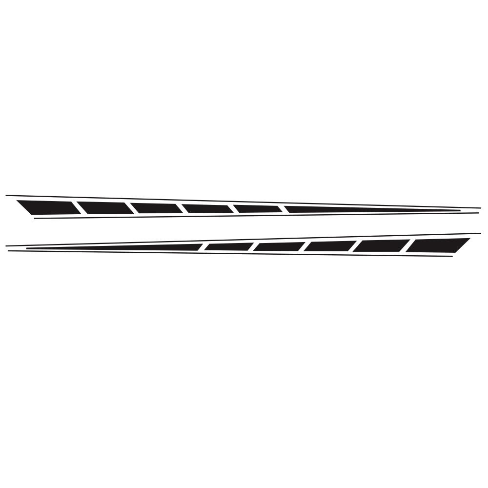 2Pcs Auto Car Side Body Long Stripe Sport Vinyl Decals Decoration Racing Sticker black
