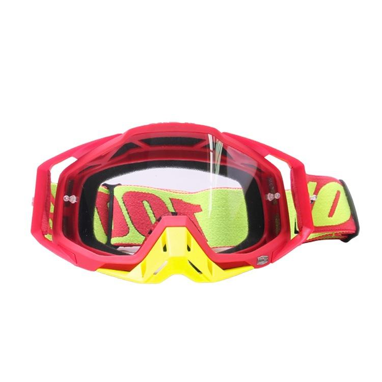 Motocross Goggles Motorcycle Glasses Racing Moto Bike Cycling Gafas Sunglasses  Full red + yellow