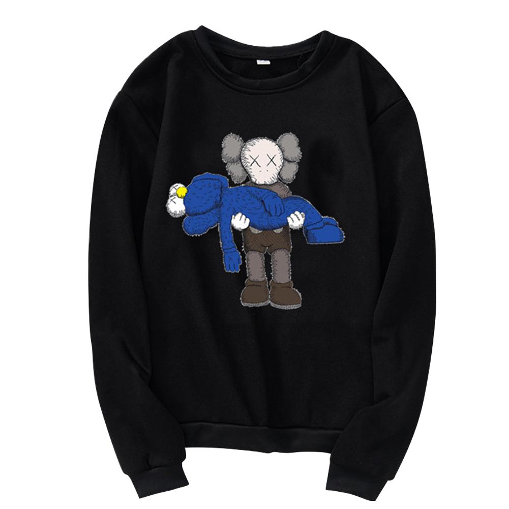Men Women Loose Cute Cartoon Printing Round Collar Fleece Sweatshirts black_S