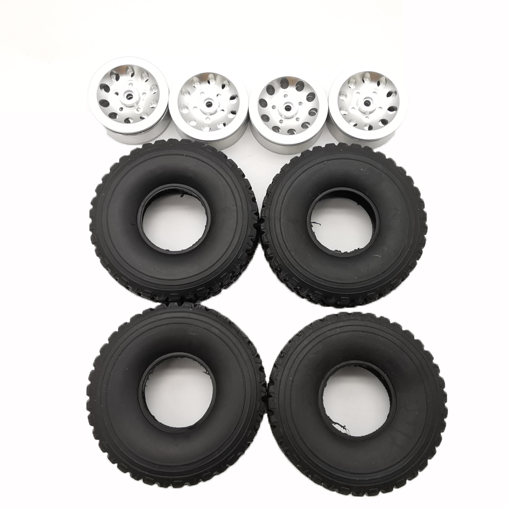 4pcs Mn Model Metal Clamping Pressure Tire Beadlock Wheel Rim & Rubber Tires Set For Wpl 1/16 Mn45 D90 91 96 99 99s 99a 1/12 Rc Car Model Silver_4PCS tire + wheel tire