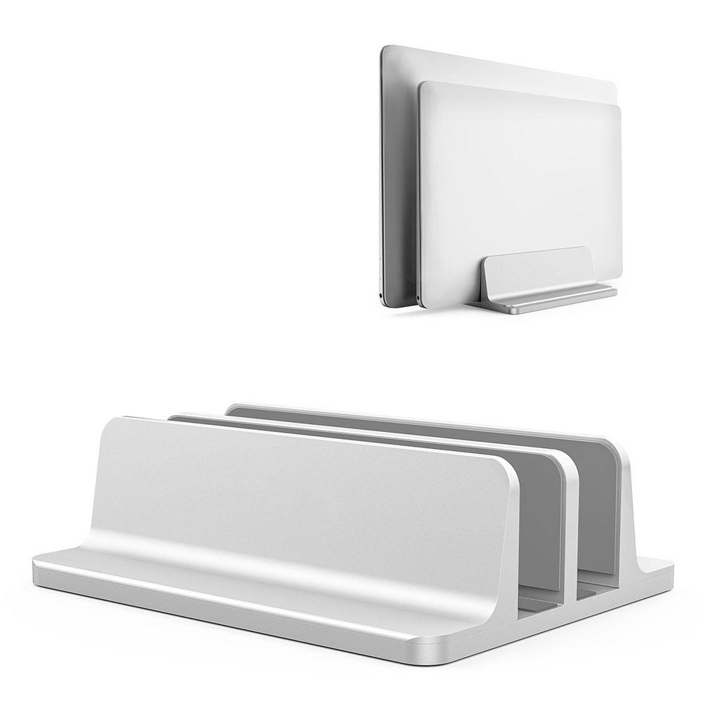 Vertical Laptop Stand Computer Desktop Display Holder Storage Shelves Stand Base for Home Office Silver