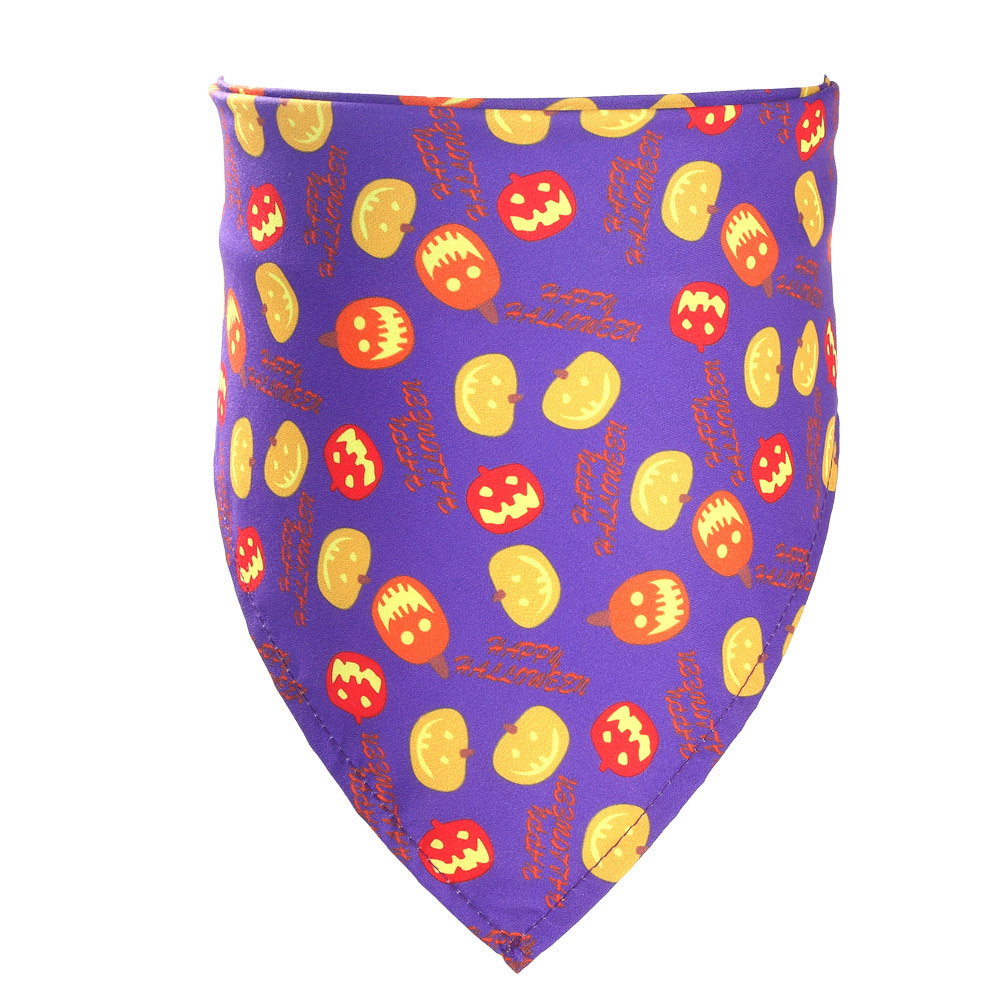 Decorative Scarf Printing Generic Pet Saliva Towel for Dogs and Cats 06 Pumpkin with purple background (single layer)_Suitable for pets with a neck circumference of 20-46CM