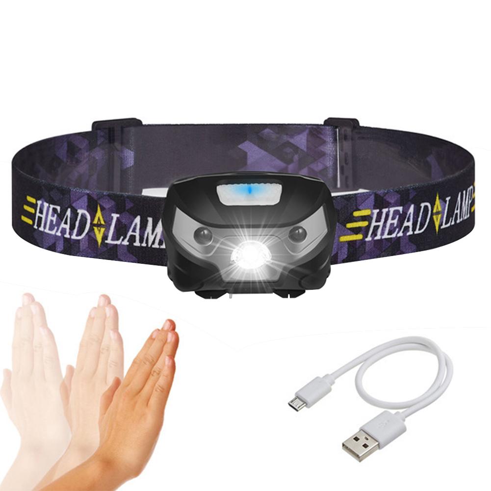 Intelligent  Body Motion Sensor LED Headlight USB Charging Mini Headlamp Outdoor Light black