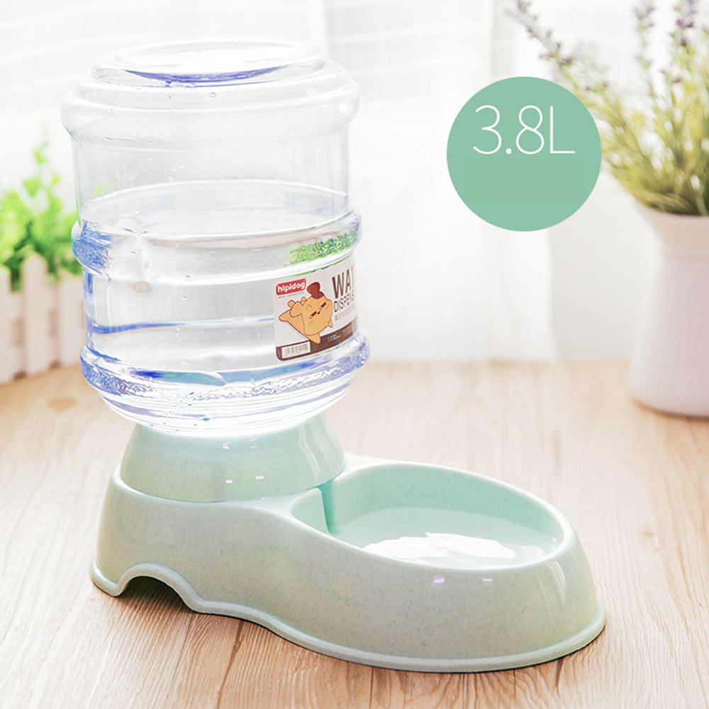 3.8L Pet Automatic Feeder/Drinking Fountain Storage Barrel for Dogs Teddy Cat Supplies Automatic drinker_light green