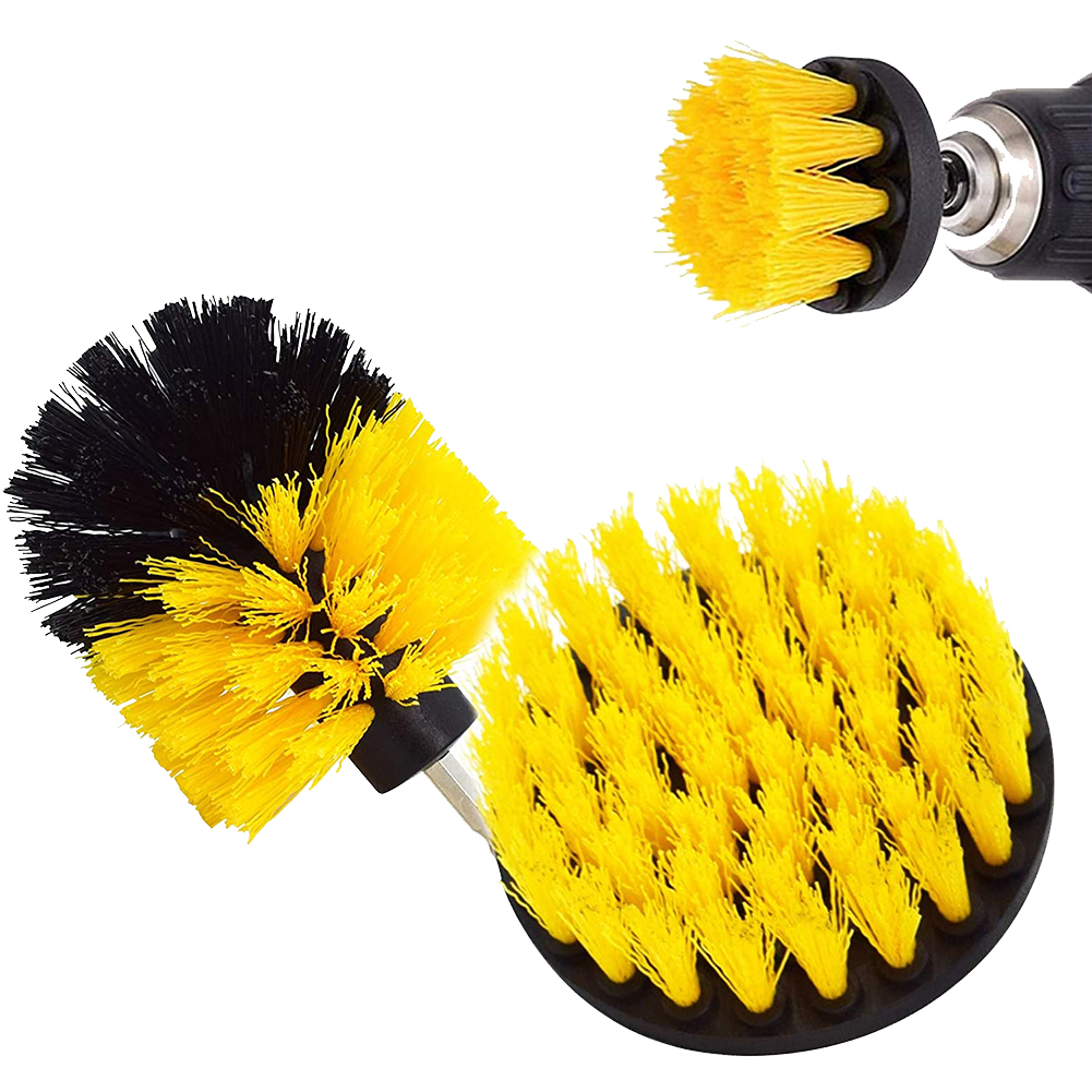 Drill  Brush  Attachments  Set Shower Brushes Sets Power Scrubber Drill Brush Yellow