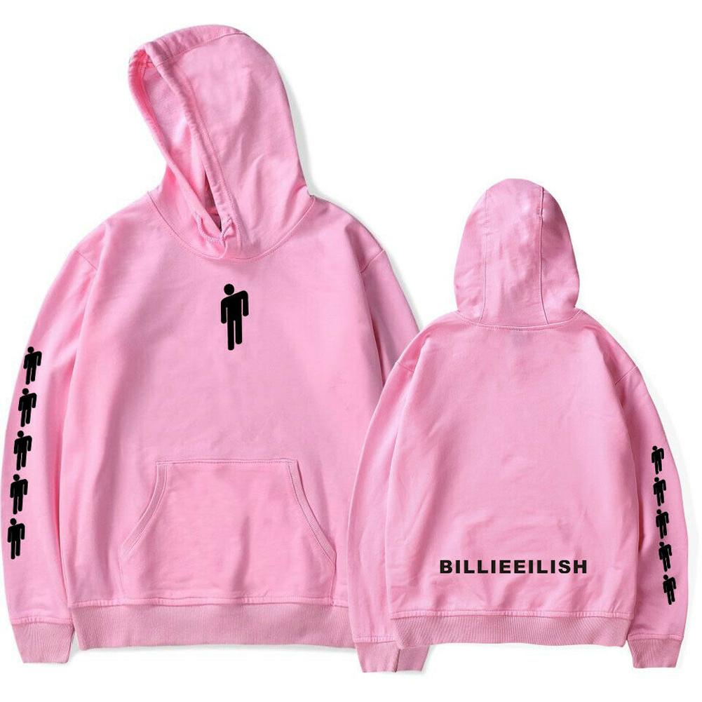 Men Women Fashion Casual Cartoon Pattern Printing Billie Eilish Hoodie Pullover pink_L